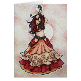 Arte de la danza de vientre de la ascua tarjeta de felicitación