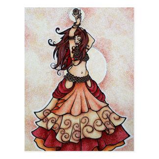 Arte de la danza de vientre de la ascua tarjeta postal