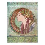 Arte de la diosa de Alfonso Mucha Postales