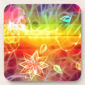 Arte de la energía de la flor de Chakra por amor Posavasos De Bebida