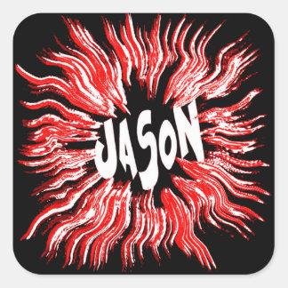 Arte de la estrella del nombre de Jason Pegatinas Cuadradases