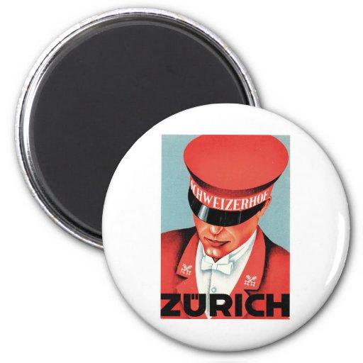 Arte de la etiqueta de Zurich Suiza del viaje del Imán Redondo 5 Cm