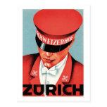 Arte de la etiqueta de Zurich Suiza del viaje del  Tarjetas Postales