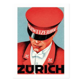 Arte de la etiqueta de Zurich Suiza del viaje del Postal