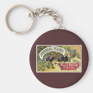 Arte de la etiqueta del cajón de la fruta del llavero redondo tipo pin