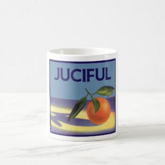 Arte de la etiqueta del cajón de la fruta del taza