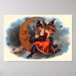 Arte de la etiqueta del cigarro del vintage, luna posters
