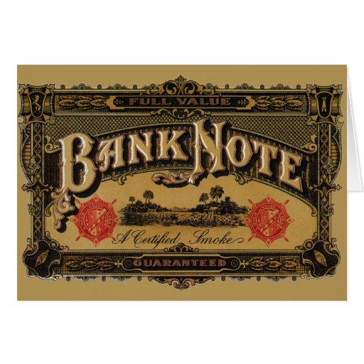 Arte de la etiqueta del cigarro del vintage, tarjeta de felicitación