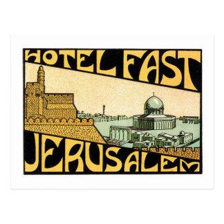 Arte de la etiqueta del hotel de Jerusalén del via Tarjeta Postal