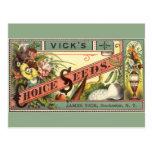Arte de la etiqueta del paquete de las semillas de postal