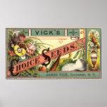 Arte de la etiqueta del paquete de las semillas posters