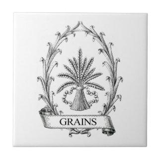 Arte de la etiqueta del saco del grano del vintage azulejo cuadrado pequeño