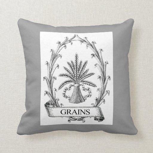 Arte de la etiqueta del saco del grano del vintage cojin