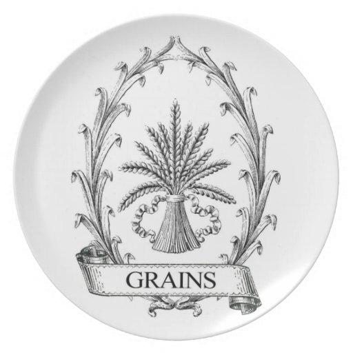 Arte de la etiqueta del saco del grano del vintage plato de comida
