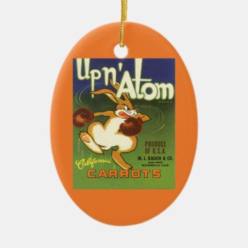 Arte de la etiqueta del vintage, encima de las adorno navideño ovalado de cerámica
