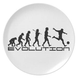 Arte de la evolución del deporte de Futbol del fút Platos