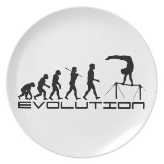 Arte de la evolución del deporte de la gimnasia de plato de comida