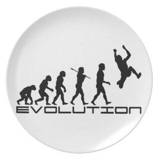 Arte de la evolución del deporte de la triple salt plato de comida