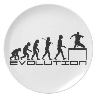 Arte de la evolución del deporte del atletismo del plato de cena