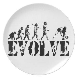 Arte de la evolución del deporte del béisbol plato de cena