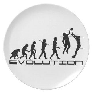 Arte de la evolución del deporte del jugador de vo plato