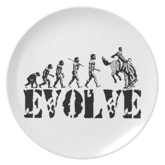 Arte de la evolución del deporte del rodeo de los  plato