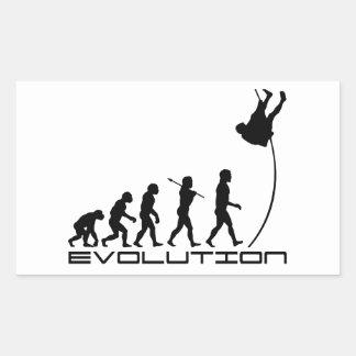 Arte de la evolución del deporte del salto con pegatina rectangular