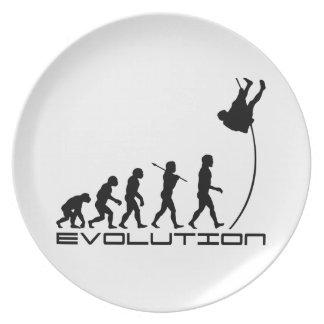 Arte de la evolución del deporte del salto con pér plato para fiesta
