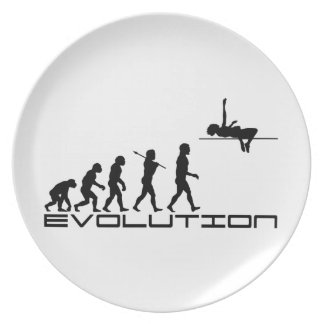 Arte de la evolución del deporte del salto de altu plato de comida