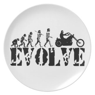 Arte de la evolución del jinete de la motocicleta  plato para fiesta