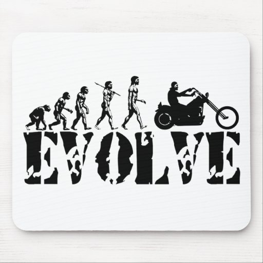 Arte de la evolución del jinete de la motocicleta  tapete de ratones