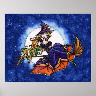 Arte de la fantasía de Halloween de la bruja de Pr Póster