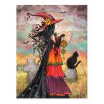 Arte de la fantasía de la bruja de Halloween por M Postales