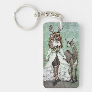 Arte de la fantasía de la diosa de los ciervos - llavero rectangular acrílico a doble cara