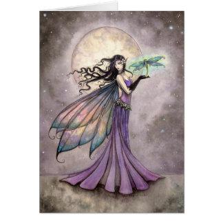 Arte de la fantasía de la hada y de la libélula tarjeta de felicitación
