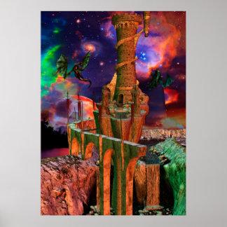 Arte de la fantasía de la lucha del dragón de los  poster