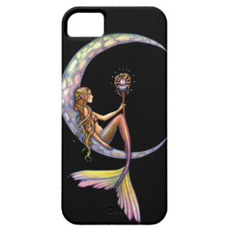 Arte de la fantasía de la luna de la sirena iPhone 5 Case-Mate protectores