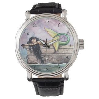 Arte de la fantasía de la sirena el dormir por relojes de pulsera