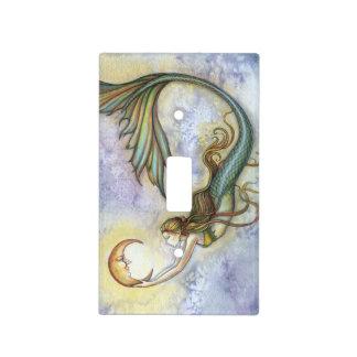 Arte de la fantasía de la sirena y de la luna placas para interruptor