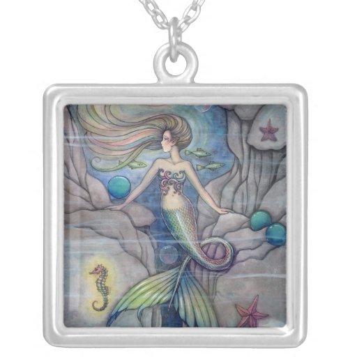 Arte de la fantasía de la sirena y del Seahorse Colgante Cuadrado