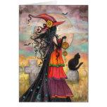 Arte de la fantasía del cementerio del gato negro tarjeta de felicitación