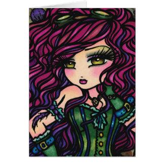 Arte de la fantasía del chica del globo del aire tarjeta de felicitación