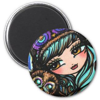 Arte de la fantasía del chica del gorra del bosque imán de nevera