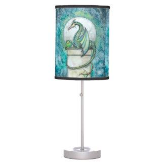 Arte de la fantasía del dragón verde lámpara de escritorio