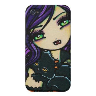 Arte de la fantasía del gato del vampiro de Vixie iPhone 4 Carcasas