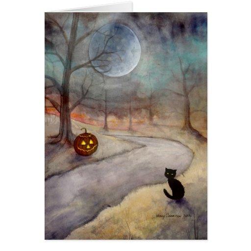 Arte de la fantasía del gato negro y de la tarjeta de felicitación