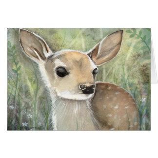 Arte de la fauna de la acuarela del cervatillo tarjeta de felicitación
