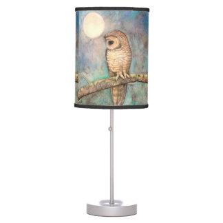 Arte de la fauna del búho de la acuarela lámpara de mesa