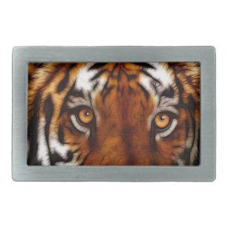 Arte de la fauna del gato grande del tigre el mira hebilla de cinturón rectangular