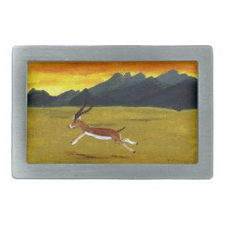 Arte de la fauna del Gazelle de la puesta del sol Hebilla Cinturon Rectangular